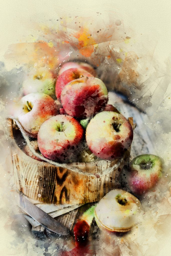 Painting of wooden bowl of apples.